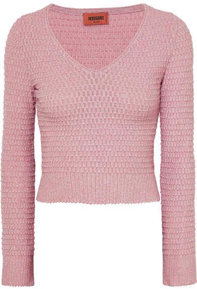 Missoni Cropped Metallic Crochet-knit Sweater - Pink