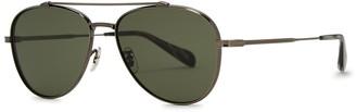 Oliver Peoples Rikson Gunmetal Aviator-style Sunglasses