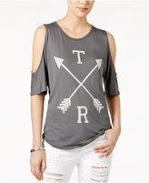 True Religion Cotton Cold-Shoulder Graphic Top