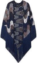 Missoni Fringed Metallic Crochet-knit Wrap - Navy