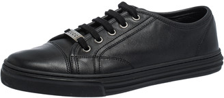Gucci Black Leather Low Top Lace Up Sneakers Size 38