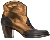 Chie Mihara metallic leather cowboy ankle boots