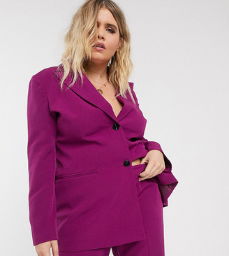 ASOS DESIGN Curve pop suit blazer in purple