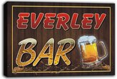 AdvPro Canvas scw3-074751 EVERLEY Name Home Bar Pub Beer Mugs Cheers Stretched Canvas Print Sign