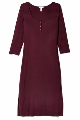 Daily Ritual Rayon Spandex Wide Rib Scoop Neck Henley Dress