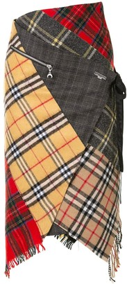 Marine Serre Patchwork Wool Check Skirt