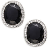Kenneth Jay Lane Crystal Pave-Trimmed Black Stone Clip-On Earrings