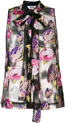 MSGM jacquard floral blouse
