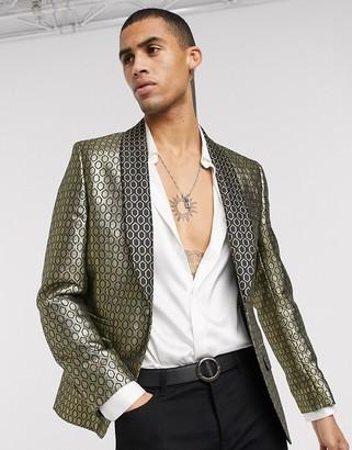 ASOS DESIGN slim jacket in gold diamond jacquard