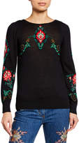 Etro Tower Floral Intarsia Balloon-Sleeve Sweater