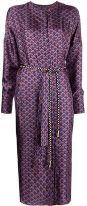 Odeeh Geometric Print Silk Midi Dress