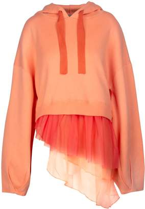 In.No Brittney Tulle Layered Cashmere Blend Coral Hoodie