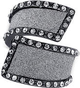 GUESS Hematite-Tone Cocktail Stretch Ring with Clear Crystal and Glitter Swirl Accents