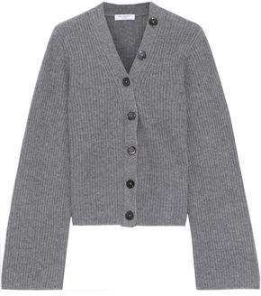 Equipment Paz Button-detailed Ribbed Cashmere Cardigan