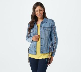 Peace Love World Medium Wash Jacket w/Fringe Braided Trim