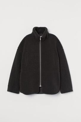 H&M Fleece Jacket with High Collar - Gray