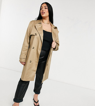 ASOS DESIGN Curve trench coat in stone
