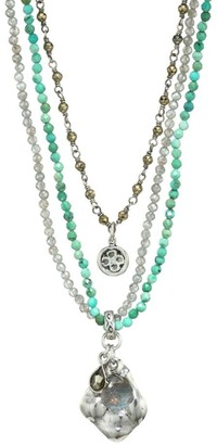 Chan Luu Mixed Turquoise Multi-Strand Beaded Charm Necklace