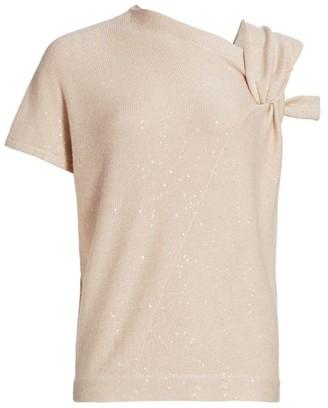 Brunello Cucinelli Sequin-Embellished Asymmetric Cashmere & Silk Sweater