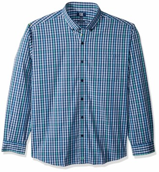 Cutter & Buck Men's Long Sleeve Anchor Double Check Plaid Button Up Shirt