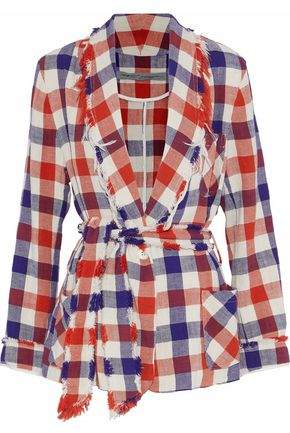 Raquel Allegra Frayed Gingham Cotton-Flannel Jacket