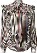 Preen by Thornton Bregazzi checkerboard pussy bow blouse
