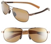 Maui Jim Men's 'Maui Flex - Polarizedplus2' 56Mm Aviator Sunglasses - Copper/ Brown/ Tan