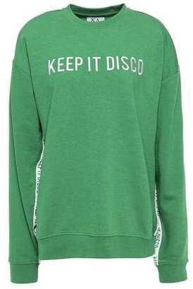 Zoe Karssen Keep It Disco Embroidered French Cotton-blend Terry Sweatshirt