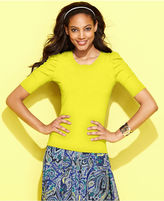 INC International Concepts Petite Sweater, Short-Sleeve Ruched Scoop-Neck