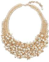 Cara Imitation Pearl & Crystal Bib Necklace