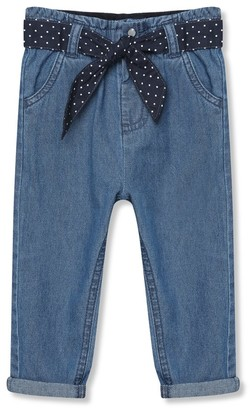 M&Co Elasticated waist jeans with tie belt (9mths-5yrs)