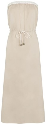 Cat Turner London Long Beige Strapless Dress