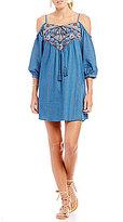 Blu Pepper Embroidered Cold-Shoulder Shift Dress