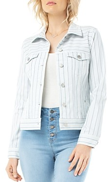 Liverpool Los Angeles Classic Jean Jacket in Dawn Blue Dotted Stripe