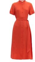 Diane von Furstenberg Mia Belted Silk-crepe Midi Dress - Womens - Orange