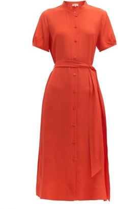 Diane von Furstenberg Mia Belted Silk-crepe Midi Dress - Womens - Orange