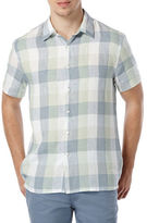 Perry Ellis Short Sleeved Button Front Plaid Shirt