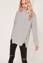 Missguided Chunky Lace Up Side Turtle Neck Sweater Grey