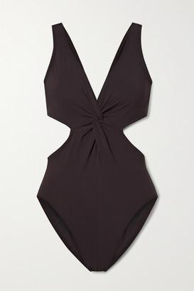 Karla Colletto Cutout Twist-front Swimsuit - Dark brown