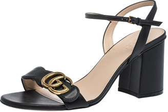 Gucci Black Leather GG Marmont Ankle Strap Sandals Size 38