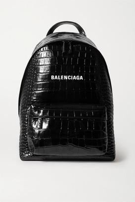 Balenciaga Everyday Croc-effect Leather Backpack