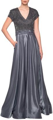 La Femme Two-Tone Satin A-Line Gown