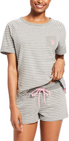 U.S. Polo Assn. Women's Sleep Bottoms charcoal - Charcoal Heather Stripe Sleep Top & Shorts - Women