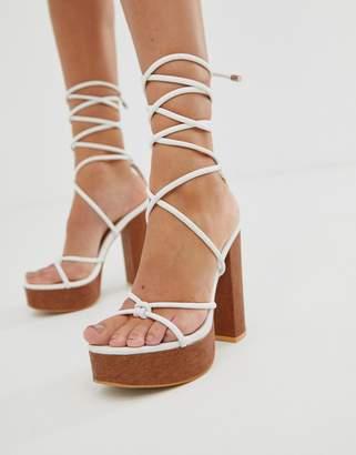 Public Desire Strut white tie up platform sandals