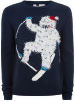 Topman Navy Christmas Skiing Yeti Jumper