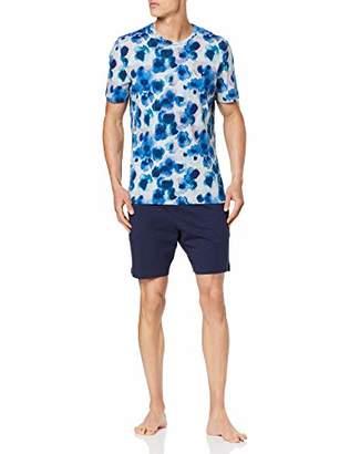 Hom Men's Aqua Flower Short Sleepwear Pyjama Set,Medium