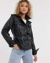 Urban Bliss faux leather jacket with belt in black
