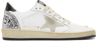 Golden Goose White and Silver Ball Star Sneakers