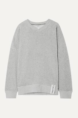 Calvin Klein Underwear Ribbed Stretch-velour Sweatshirt - Gray