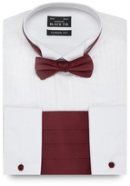 Black Tie Big And Tall White Classic Fit Shirt And Bow Tie